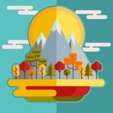 平的山森林秋天风景 库存图片