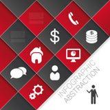 平的抽象与象的infographics深红传染媒介 免版税库存图片