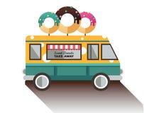 平的搬运车和多福饼 卡车用点心 库存图片