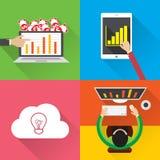 平的数字式营销媒介,企业财务投资的设计现代传染媒介例证infographic概念有图 图库摄影