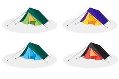 平的旅游帐篷 五颜六色的图标集 免版税图库摄影