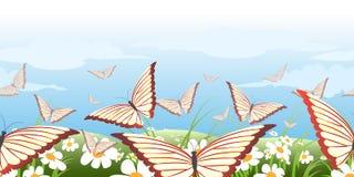 水平的无缝的蝴蝶图案 库存图片