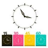 平的时钟标志 传染媒介时间象 免版税库存图片