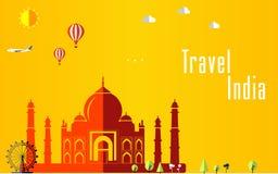 平的时髦的旅行背景,传染媒介例证印度、印度、旅行和旅游业概念的 免版税库存照片