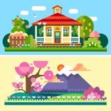 平的春天和夏天风景 向量例证