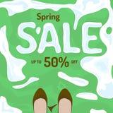 平的春天销售传染媒介横幅,海报,飞行物模板 免版税库存照片