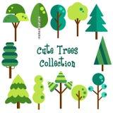 平的树传染媒介收藏 免版税库存照片