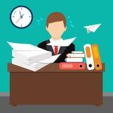 平的样式传染媒介例证 繁忙的凌乱的办公室桌 皇族释放例证