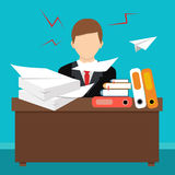 平的样式传染媒介例证 繁忙的凌乱的办公室桌 向量例证