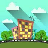 平的样式例证现代城市 向量例证
