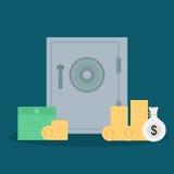 平的样式保险柜和金钱 免版税库存图片