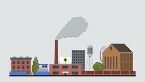 平的样式工厂动画显露 Eco大气污染烟囱生气蓬勃的烟概念 库存例证