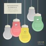 平的样式摘要电灯泡infographics 免版税库存照片