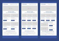 平的样式时事通讯蓝色模板 免版税图库摄影