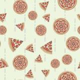 平的样式比萨传染媒介无缝的样式,比萨纹理 库存例证