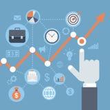 平的样式现代网infographics成长,收入上升的概念 免版税库存图片
