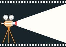 平的样式电影胶卷照相机背景 免版税库存照片