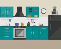平的样式的厨房与家具 免版税库存图片