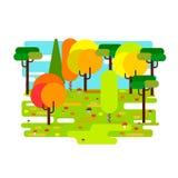 平的样式的秋天森林 图库摄影