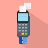 平的样式的Pos终端 无钱的付款和信用卡支付传染媒介例证的概念 图库摄影