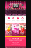 平的样式鸡尾酒菜单概念网站设计 免版税库存图片