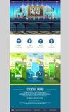 平的样式鸡尾酒菜单概念网站设计 图库摄影