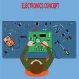 平的样式,工程师检查电子板-传染媒介