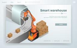 平的横幅聪明的仓库自动化系统 库存例证