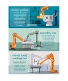 水平的横幅设置了与机器人焊工、装配线和机器人手机械工具 免版税库存照片