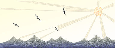 水平的横幅:波浪马赛克与太阳和鸟的 免版税库存照片