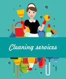 平的清洗的服务海报 库存例证