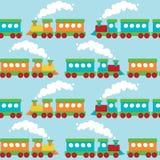平的火车无缝的样式 库存照片