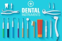 平的牙齿仪器布景概念 库存图片