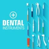 平的牙齿仪器布景概念 免版税库存照片