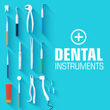 平的牙齿仪器布景概念 免版税库存图片