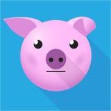 平的猪头 免版税图库摄影
