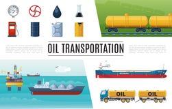 平的石油工业元素集 库存例证