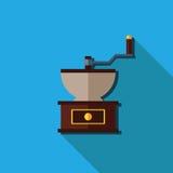 平的磨咖啡器,传染媒介被隔绝 免版税图库摄影
