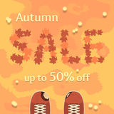 平的秋天销售传染媒介横幅,海报,飞行物模板 免版税库存照片