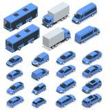 平的等量优质城市运输汽车象集合 汽车,搬运车,货物卡车 免版税库存图片