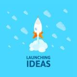 平的等量空间标志火箭船象,起始的概念 免版税库存图片