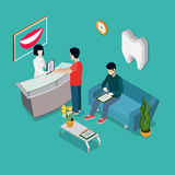 平的等量3d健康牙齿诊所int 向量例证