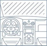 平的简单的线汽车内部视图例证  免版税库存照片
