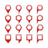 平的红颜色地图别针信号点象 库存图片