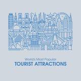 平的线世界的受欢迎的旅游胜地例证  免版税库存图片
