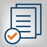 平的线完成的象 质量管理概念 在灰色背景的简明蓝色和橙色线 被隔绝的传染媒介对象 免版税库存图片