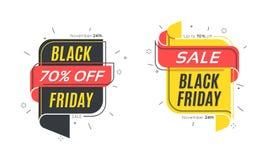 平的线性泡影黑色星期五 销售横幅 免版税库存照片