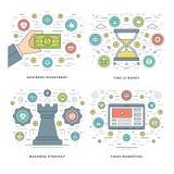 平的线战略,投资,时间安排企业概念设置了传染媒介例证 免版税库存图片