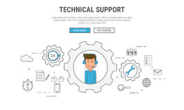 平的线技术支持的,顾客服务设计观念,用于网横幅,英雄图象,铅印材料 免版税库存图片