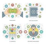平的线投资,安全,电子商务,管理企业概念设置了传染媒介例证 库存图片